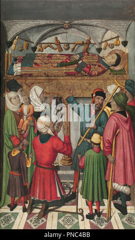 Posthumous Miracles by Saint Vincent. Date/Period: Ca. 1455-1460. Painting. Tempera, stucco reliefs and gold leaf on wood. Height: 1,658 mm (65.27 in); Width: 974 mm (38.34 in). Author: JAUME HUGUET. HUGUET, JAIME. Huguet, Jaume. - Stock Photo