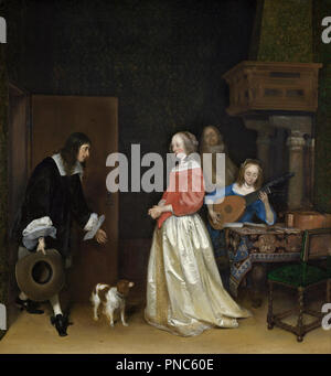 The Suitor's Visit. Date/Period: Ca. 1658. Painting. Oil on canvas. Height: 800 mm (31.49 in); Width: 750 mm (29.52 in). Author: Gerard ter Borch the Younger. - Stock Photo