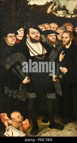 Martin Luther and the Wittenberg Reformers. Date/Period: Ca. 1543. Painting. Oil on panel. Height: 72.8 cm (28.6 in); Width: 39.7 cm (15.6 in). Author: Lucas Cranach the Younger. LUCAS CRANACH, THE YOUNGER. - Stock Photo
