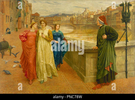 Dante and Beatrice. Date/Period: 1882 - 1884. Painting. Oil on canvas. Height: 2,032 mm (80 in); Width: 2,032 mm (80 in). Author: HENRY HOLIDAY. - Stock Photo