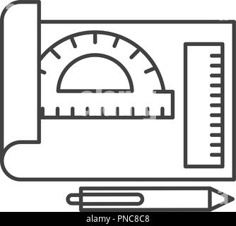 graphic design sheet protractor ruler and pen - Stock Photo