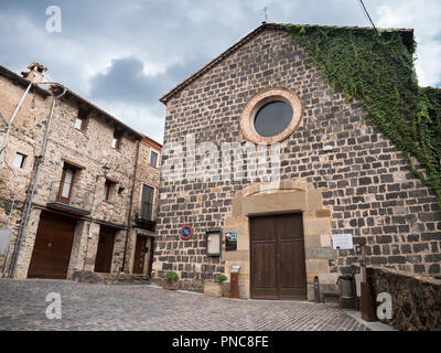 Horizontal view of the front facade of Sant Salvador Church in Castellfolit de la Roca - Stock Photo