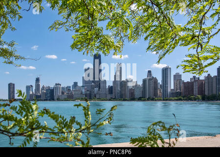 View of the Chicago skyline from North Avenue Beach on Lake Michigan, Chicago, Illinois. - Stock Photo