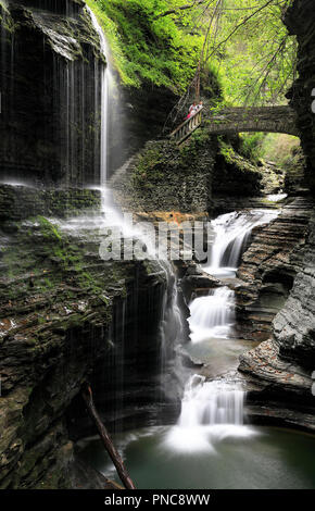 The Rainbow Falls in Watkins Glen State Park.Finger Lakes region.New York. USA - Stock Photo