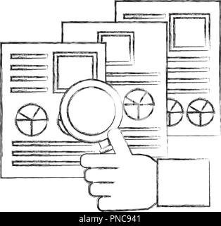 hand holding magnifying glass resume documents - Stock Photo