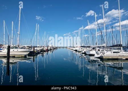 Boats in DuSable Harbor, Lake Michigan, Chicago, IL. - Stock Photo