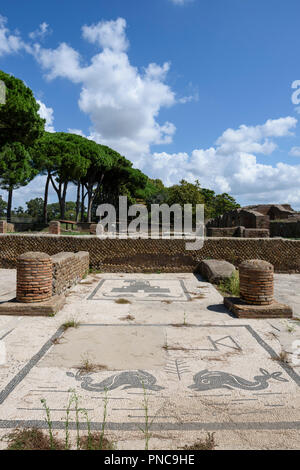Rome. Italy. Ostia Antica. Mosaic paving of Roman merchant office/shop on Piazzale delle Corporazioni (Square of the Guilds or Corporations).  Statio  - Stock Photo