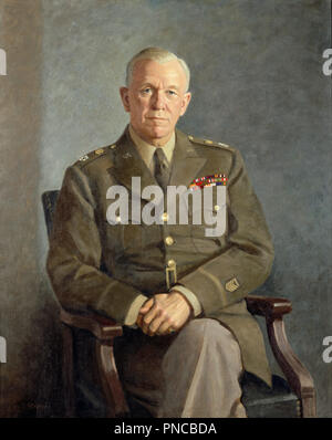 George C. Marshall. Date/Period: Ca. 1949. Painting. Oil on canvas. Height: 1,270 mm (50 in); Width: 1,015 mm (39.96 in). Author: THOMAS EDGAR STEPHENS. - Stock Photo