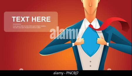 Handsome young man in a business suit wearing a tie with a white shirt. Vector illustration on white background. The concept of a successful businessman. Hero, ripping off his shirt. - Stock Photo