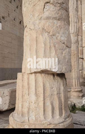 Close-up view of the ancient doric column in Parthenon on Acropolis Hill at night in Athens, Greece - Stock Photo