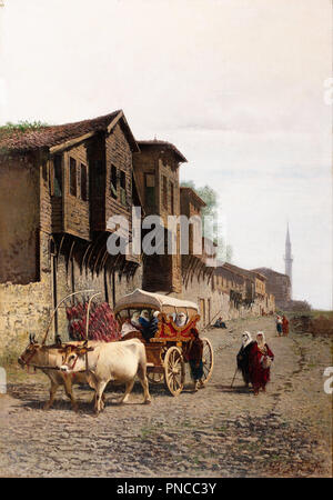 The 'Koçu' Cart. Date/Period: Second half of the 19th century. Painting. Oil on canvas. Height: 1,000 mm (39.37 in); Width: 700 mm (27.55 in). Author: Achille Befani Formis. Formis (Befani), Achille. - Stock Photo