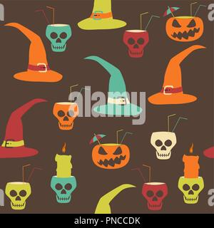 Halloween party seamless pattern. Evil pumpkins with drinking straws and cocktail umbrellas, human skulls as goblets and candlesticks, witch hats - Stock Photo