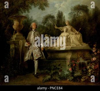 Portrait of the Actor Grandval. Date/Period: Ca. 1742. Oil paintings. Oil on canvas. Author: Nicolas Lancret. - Stock Photo