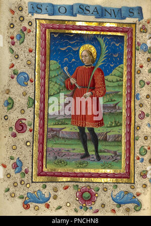 Saint Ossanus. Date/Period: Ca. 1469. Folio. Tempera colors, gold paint, gold leaf, and ink on parchment. Height: 108 mm (4.25 in); Width: 79 mm (3.11 in). Author: Guglielmo Giraldi. - Stock Photo