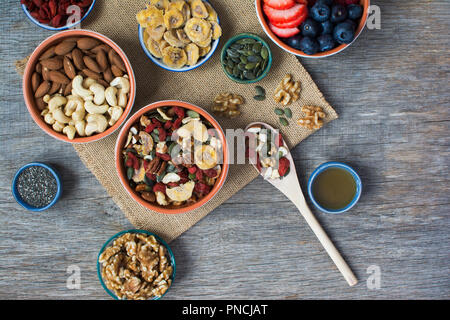 Paleo style breakfast: gluten free and oat free muesli made with nuts, dried berries and fruits, top view - Stock Photo