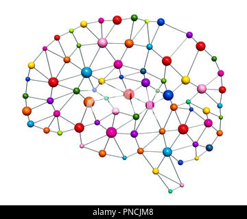 Creative brain concept. Brain from mesh and colored balls, 3D rendering isolated on white background - Stock Photo