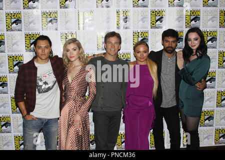 Blair Redford, Skyler Samuels, Stephen Moyer, Natalie Alyn Lind, Sean Teale and Emma Dumont promoting the next season of 'The Gifted' At San Diego Comic Con International 2018. Held at the Hilton Bay Front in San Diego, CA. July 21, 2018. Photo by: Carrie Chavez / PictureLux - Stock Photo