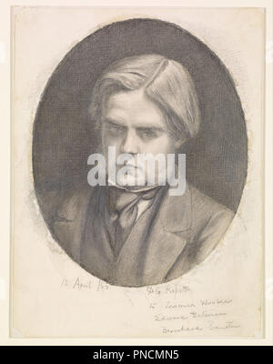 Portrait of William Holman Hunt (1827-1910). Date/Period: 1853. Pencil over grey wash with scratching. Width: 206 mm. Height: 274 mm. Author: Dante Gabriel Rossetti. - Stock Photo