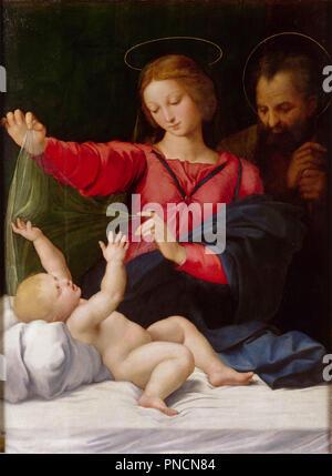 Madonna of Loreto. Date/Period: 1509. Painting. Oil on panel. Height: 120 cm (47.2 in); Width: 90 cm (35.4 in). Author: RAPHAEL. Raphael (Raffaello Sanzio da Urbino). - Stock Photo