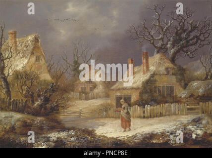A Winter Landscape. Date/Period: Ca. 1770. Painting. Oil on canvas. Height: 302 mm (11.88 in); Width: 425 mm (16.73 in). Author: George Smith. - Stock Photo