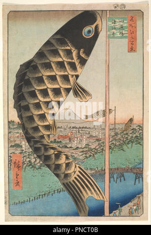 Suido Bridge and Surugadai, from the series One Hundred Famous Views of Edo (Edo Meisho Hyakkei). Date/Period: 1857, 5th lunar month. Print. Woodblock print; ink and color on paper. Height: 356 mm (14.01 in); Width: 240 mm (9.44 in). Author: Hiroshige. HIROSHIGE, UTAGAWA. - Stock Photo