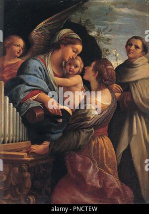 Madonna con il Bambino e i santi Cecilia e Alberto / Madonna with the Child, Saint Cecily and Saint Albert. Date/Period: 1615. Painting. Oil on copper. Height: 320 mm (12.59 in); Width: 240 mm (9.44 in). Author: Lorenzo Garbieri. - Stock Photo