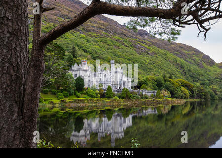 County Galway, Ireland - August 20th 2018: A view of the magnificent Kylemore Abbey - the Benedictine monastery on the grounds of Kylemore Castle in C - Stock Photo
