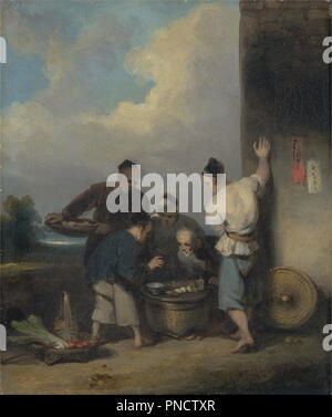 Coolies Round the Food Vendor's Stall. Date/Period: After 1825. Painting. Oil on canvas. Height: 241 mm (9.48 in); Width: 206 mm (8.11 in). Author: George Chinnery. - Stock Photo