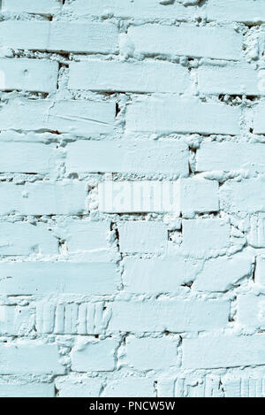 Whitewashed brick wall, turquoise color toning, interior, texture and design background with copy space - Stock Photo