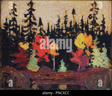 Black Spruce and Maple. Date/Period: 1915. Painting. Oil on wood panel. Width: 26.7 cm. Height: 21.6 cm (overall). Author: TOM THOMSON. - Stock Photo