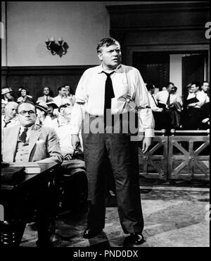Prod DB © 20 th Century Fox / DR LE GENIE DU MAL (COMPULSION) de Richard Fleischer 1959 USA avec E.G. Marshall et Orson Welles procès, obèse, regard pénétrant, tribunal d'après le roman de Meyer Levin - Stock Photo