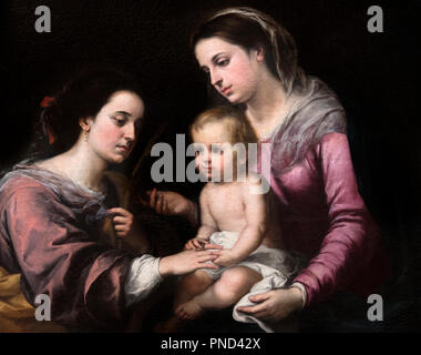 The Mystic Marriage of St Catherine by Bartolome-Esteban Murillo (1617-1682), oil on canvas, c.1660 - Stock Photo