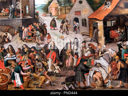 The Seven Acts of Mercy, copy after, or by the workshop of, Pieter Brueghel the Younger (1564-1638), oil on oak panel, 1600-1650 - Stock Photo
