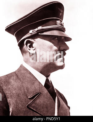 1930s 1940s PROFILE HEAD SHOULDERS ADOLF HITLER GERMAN NAZI PARTY LEADER AND DICTATOR - q72074 CPC001 HARS FAMOUS LEADERSHIP MONSTER WORLD WARS WORLD WAR WORLD WAR TWO DICTATOR AUTHORITY FACIAL HAIR POLITICS ADOLF ADOLPH HOLOCAUST INFAMOUS MURDERER NAZI FASCIST TYRANT FUHRER GENOCIDE MURDER NAZI PARTY NEUROTIC PERSONALITIES PSYCHOPATH SUICIDE SUPREMACIST BLACK AND WHITE CAUCASIAN ETHNICITY FAMOUS PERSON OLD FASHIONED - Stock Photo