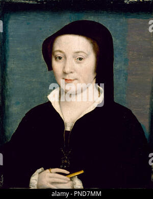 Marie de Batarnay. Date/Period: 1535/1540. Painting. Oil on wood. Width: 14.4 cm. Height: 17.8 cm (without frame). Author: CORNEILLE DE LYON. - Stock Photo