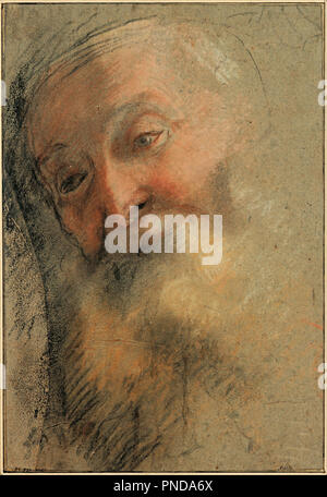 Head of an Old Bearded Man, 1584-1586. Date/Period: From 1584 until 1586. Drawing. Black chalk, white chalk, sanguine and pastel (Black, white, and red chalk, brown, ocher, and pink pastel). Author: BAROCCI, FEDERICO. Barocci, Federigo.