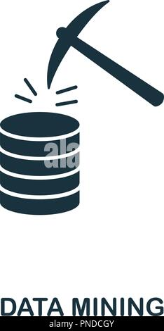 Data Mining icon. Monochrome style design from big data collection. UI. Pixel perfect simple pictogram data mining icon. Web design, apps, software, p - Stock Photo