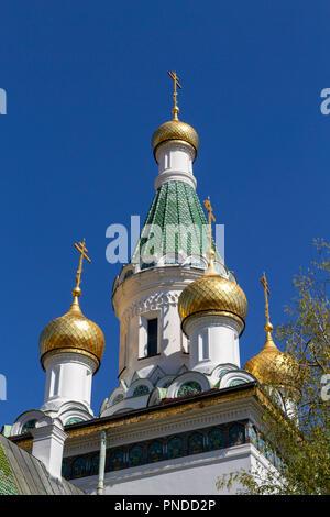 The Russian Church, (Church of St Nicholas the Miracle-Maker), Sofia, Bulgaria. - Stock Photo
