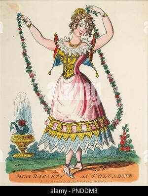 Theatrical portrait - Miss Barnett as Columbine. Date/Period: 1822 - 1839. Print. Paper. Author: Marks, J. L. - Stock Photo