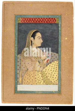 Lady Holding a Cup and a Flower. Date/Period: 1701/1730. Painting. Watercolor with gold and silver on paper. Width: 18.4 cm. Height: 33 cm (sheet). Author: Unknown Indian. - Stock Photo