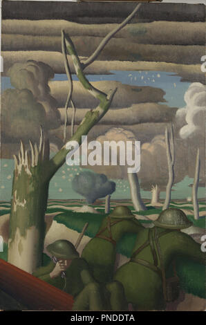 Observation of Fire. Date/Period: 1919. Painting. Oil. Height: 762 mm (30 in); Width: 508 mm (20 in). Author: Colin Gill. - Stock Photo