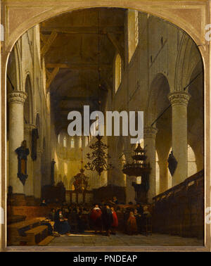 The Pieterskerk in Leiden. Date/Period: Ca. 1868. Painting. Oil, canvas, Decorated, frame,, gilded. Height: 1,213 mm (47.75 in); Width: 1,080 mm (42.51 in). Author: JOHANNES BOSBOOM. - Stock Photo