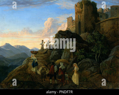 Civitella (Evening). Date/Period: 1827 - 1828. Painting. Oil on canvas. Height: 595 mm (23.42 in); Width: 775 mm (30.51 in). Author: Adrian Ludwig Richter. Ludwig Richter. - Stock Photo