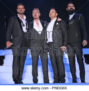 Boyzone perform to a sold out crowd at Forest Live 2014, in Delamere Forest Park, Cheshire on Sunday 06  July  2014 - Stock Photo