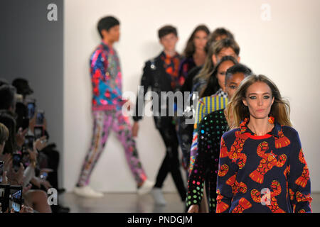 NEW YORK, NY - SEPTEMBER 10: Models walk the runway for Libertine during New York Fashion Week: The Shows at Gallery II at Spring Studios on September - Stock Photo