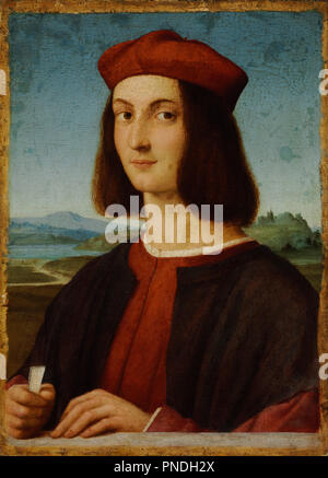 Portrait of Pietro Bembo. Date/Period: 1504 - 1506. Painting. Oil on walnut, reinforced on pine oil on panel. Height: 540 mm (21.25 in); Width: 390 mm (15.35 in). Author: RAPHAEL. Raphael (Raffaello Sanzio da Urbino). - Stock Photo