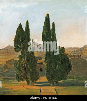 Cypress trees at the Villa d'Este. Date/Period: 1817. Painting. Oil on card. Height: 26 mm (1.02 in); Width: 24.20 mm (0.95 in). Author: Charles EASTLAKE. - Stock Photo