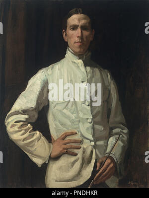 Self-portrait in white jacket. Date/Period: 1901-1902. Painting. Oil on canvas Oil on canvas. Height: 923 mm (36.33 in); Width: 735 mm (28.93 in). Author: HUGH RAMSAY. - Stock Photo