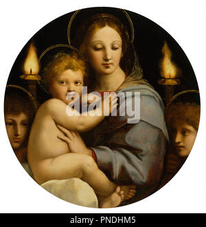Madonna of the Candelabra. Date/Period: Ca. 1513 (Renaissance). Oil paintings; panel paintings; tondi. Oil on panel oil on panel. Height: 65.70 mm (2.58 in); Width: 64 mm (2.51 in). Author: RAPHAEL. - Stock Photo