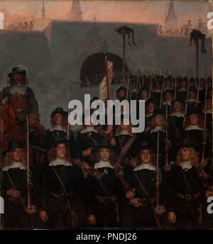 Students leave to defend Copenhagen in 1658. Date/Period: 1888. Painting. Canvas and oil. Width: 103 cm. Height: 110 cm. Author: KRISTIAN ZAHRTMANN. - Stock Photo